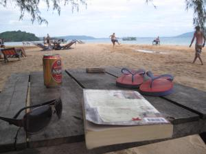 Island reading off the coast of Cambodia.