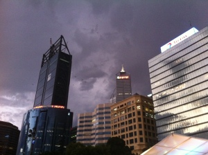 Dark clouds gathering over Perth