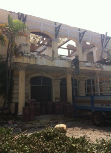 Destruction of a French Colonial building in Phan Thiet, Vietnam.