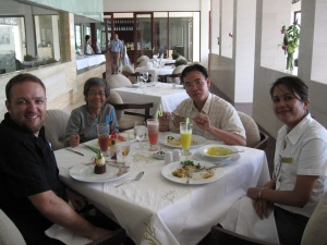 The author with other expat staff working at a resort in Vietnam.